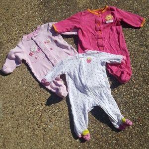 3 Carters Baby Girl Sleepers NB 3 Months